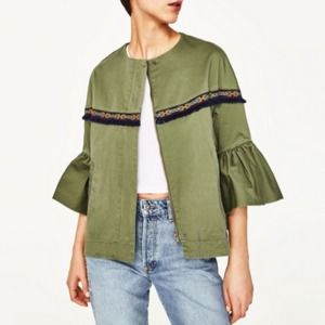 Zara Embroidered Army Green Bell Sleeve Jacket XS